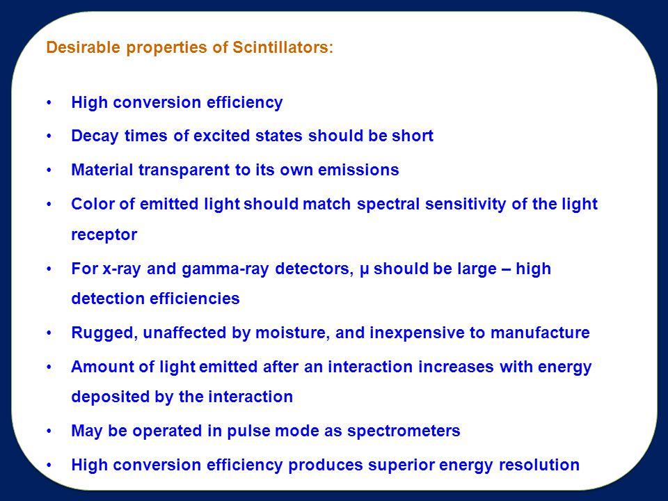 Desirable properties of Scintillators: