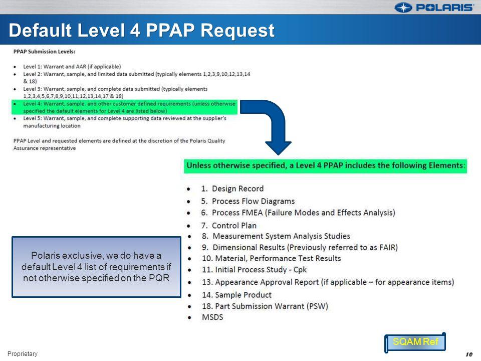 Default Level 4 PPAP Request