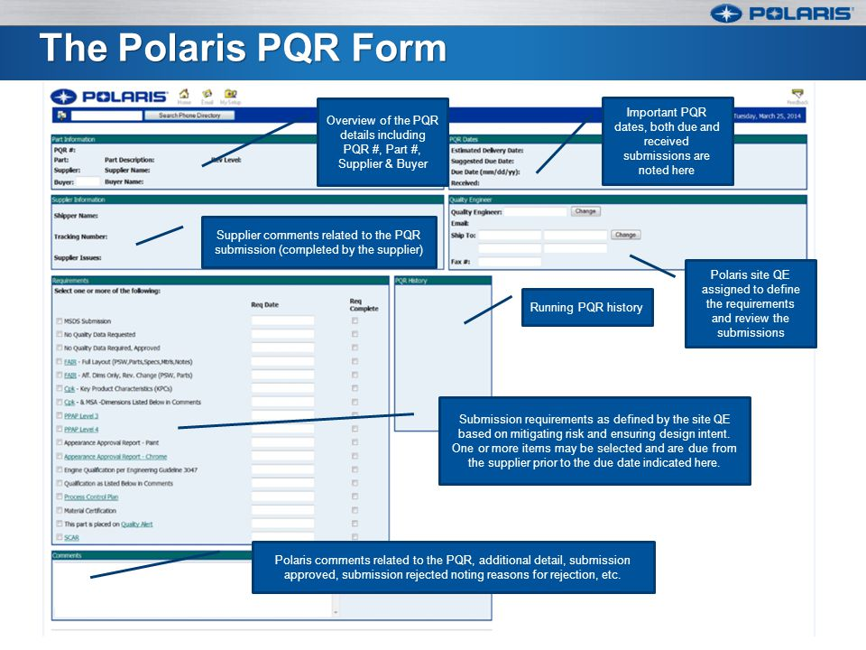 The Polaris PQR Form Overview of the PQR details including PQR #, Part #, Supplier & Buyer.