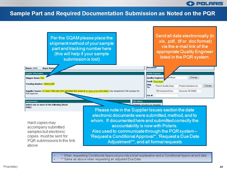 Sample Part and Required Documentation Submission as Noted on the PQR