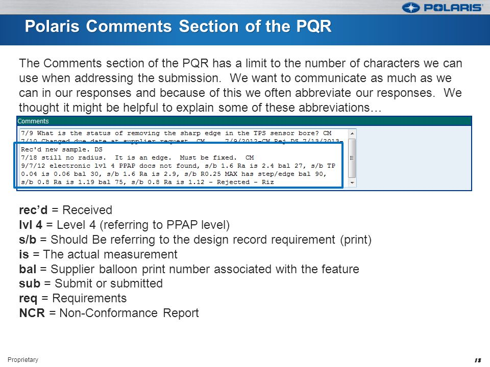 Polaris Comments Section of the PQR