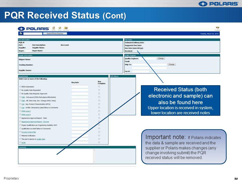 PQR Received Status (Cont)