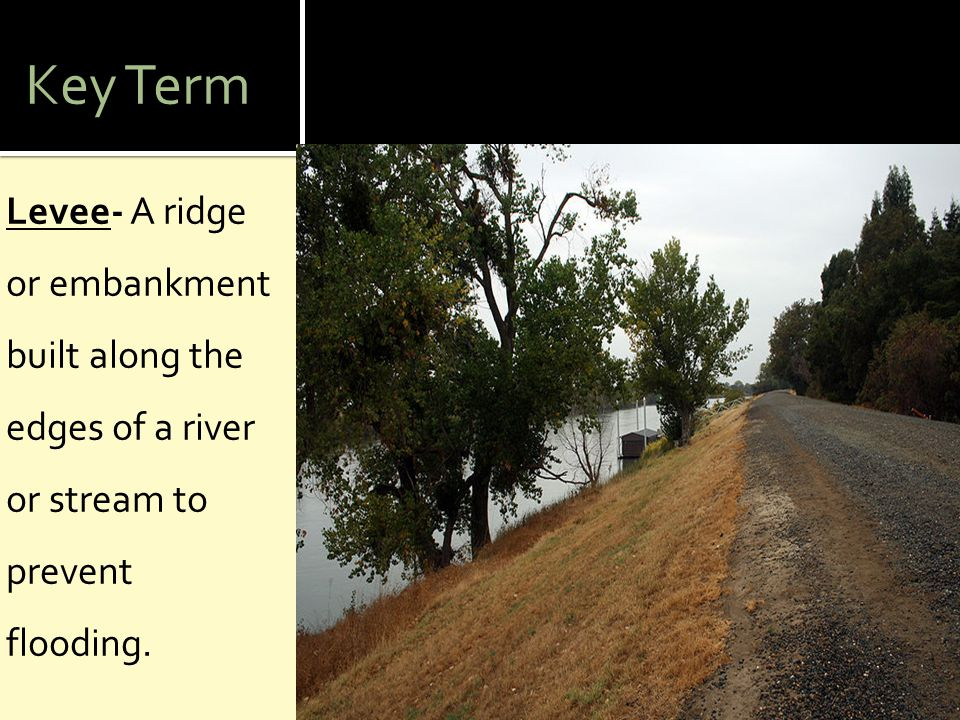 Key Term Levee- A ridge or embankment built along the edges of a river or stream to prevent flooding.