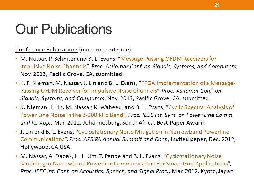 Our Publications Conference Publications (more on next slide)
