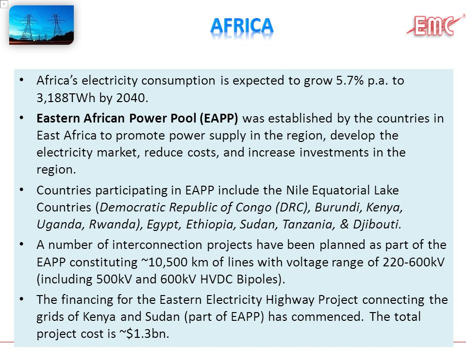 Africa Africa's electricity consumption is expected to grow 5.7% p.a. to 3,188TWh by 2040.