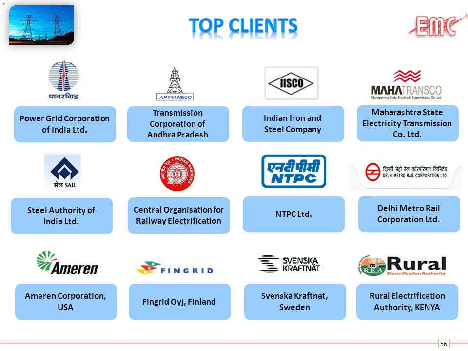 Top Clients Power Grid Corporation of India Ltd.