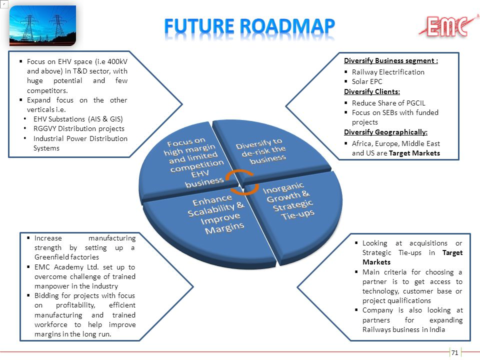 Future Roadmap Focus on EHV space (i.e 400kV and above) in T&D sector, with huge potential and few competitors.