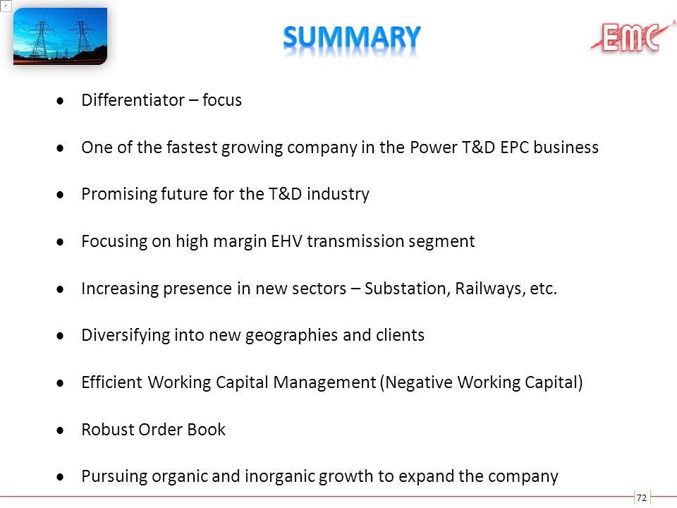Summary Differentiator – focus