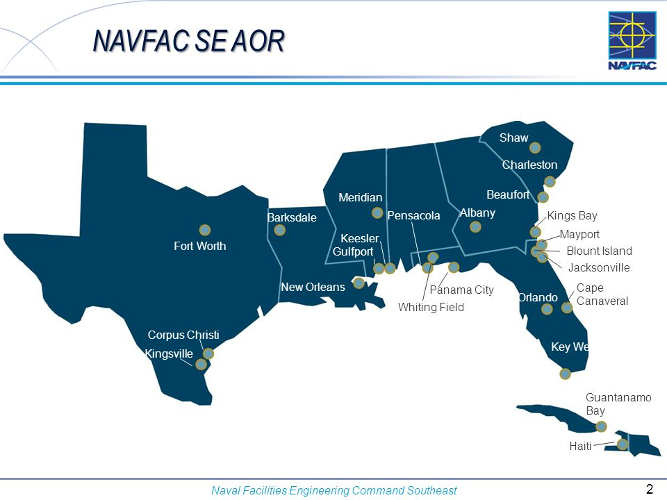 NAVFAC SE AOR Shaw Charleston Beaufort Meridian Albany Pensacola