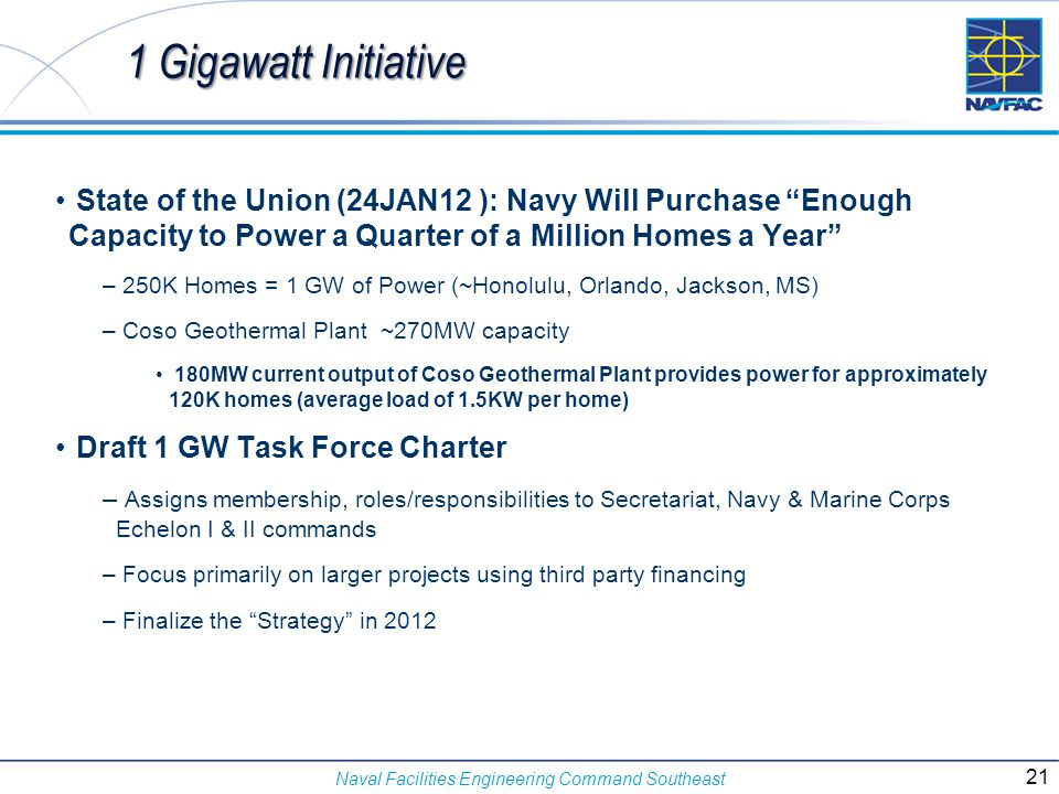1 Gigawatt Initiative State of the Union (24JAN12 ): Navy Will Purchase Enough Capacity to Power a Quarter of a Million Homes a Year