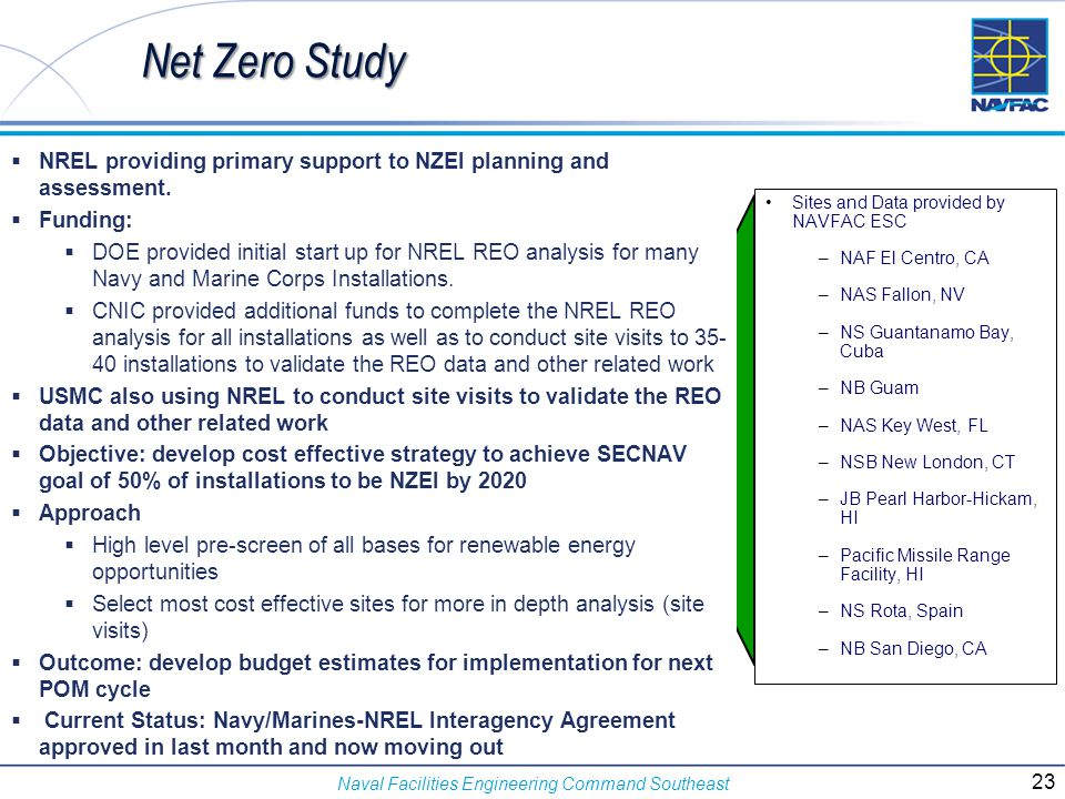 Net Zero Study NREL providing primary support to NZEI planning and assessment. Funding: