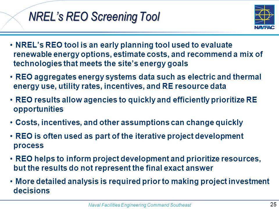 NREL's REO Screening Tool