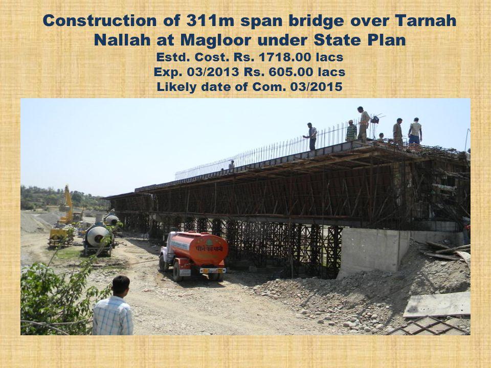 Construction of 311m span bridge over Tarnah Nallah at Magloor under State Plan Estd.