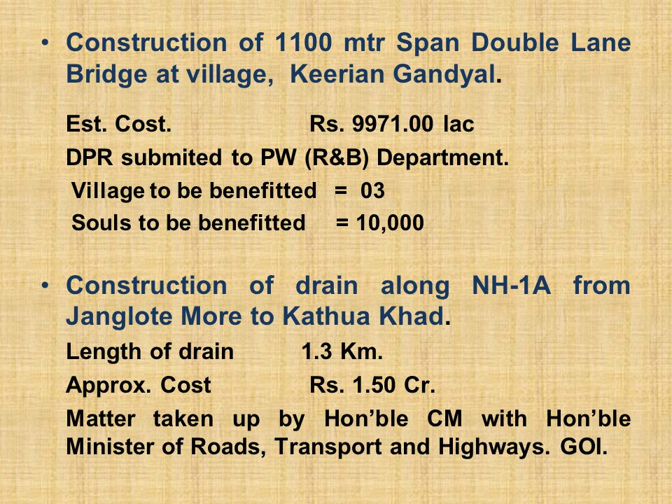 Construction of drain along NH-1A from Janglote More to Kathua Khad.