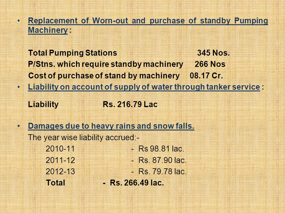 Replacement of Worn-out and purchase of standby Pumping Machinery :