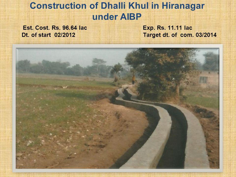 Construction of Dhalli Khul in Hiranagar under AIBP