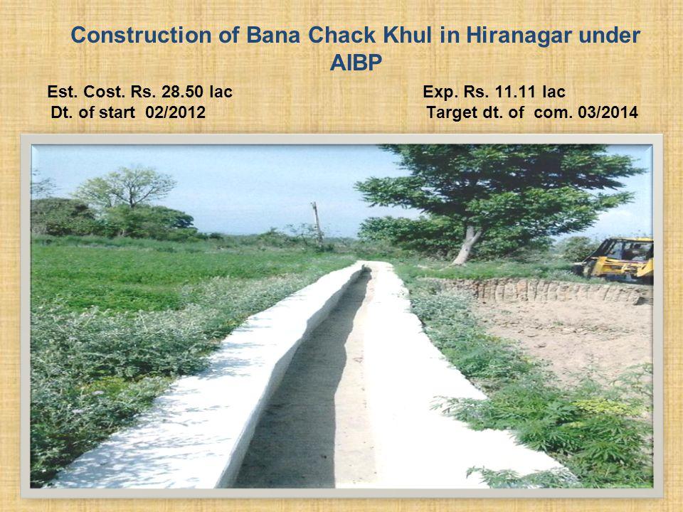 Construction of Bana Chack Khul in Hiranagar under AIBP