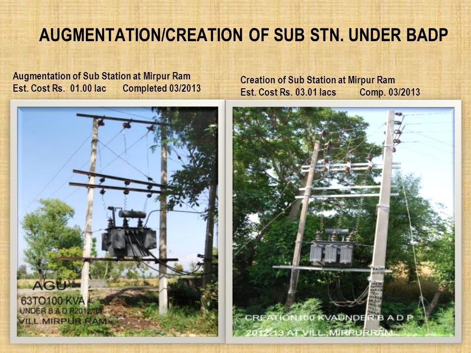 Augmentation/Creation of Sub Stn. Under BADP