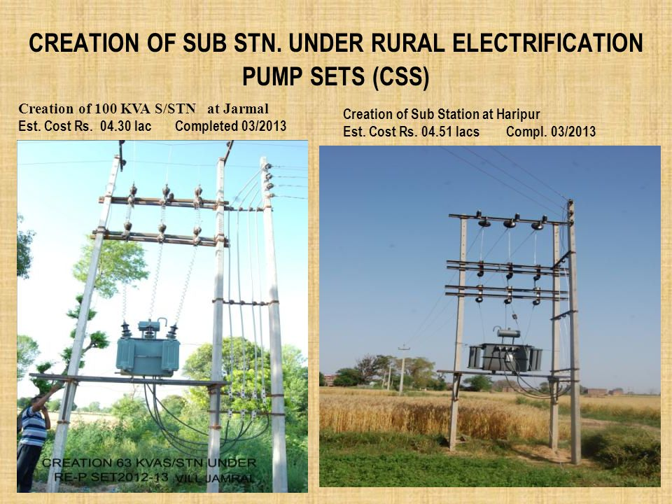 Creation of Sub Stn. Under RURAL ELECTRIFICATION PUMP SETS (CSS)