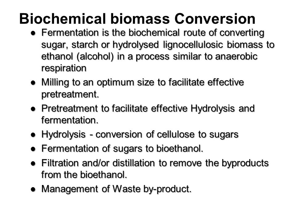Biochemical biomass Conversion