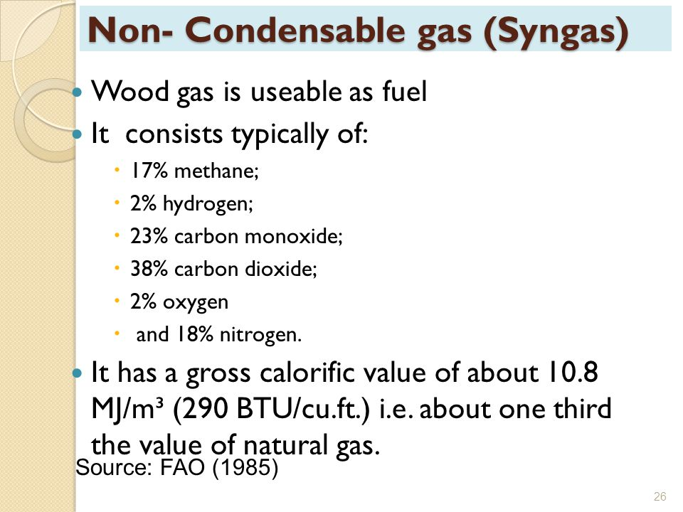 Non- Condensable gas (Syngas)