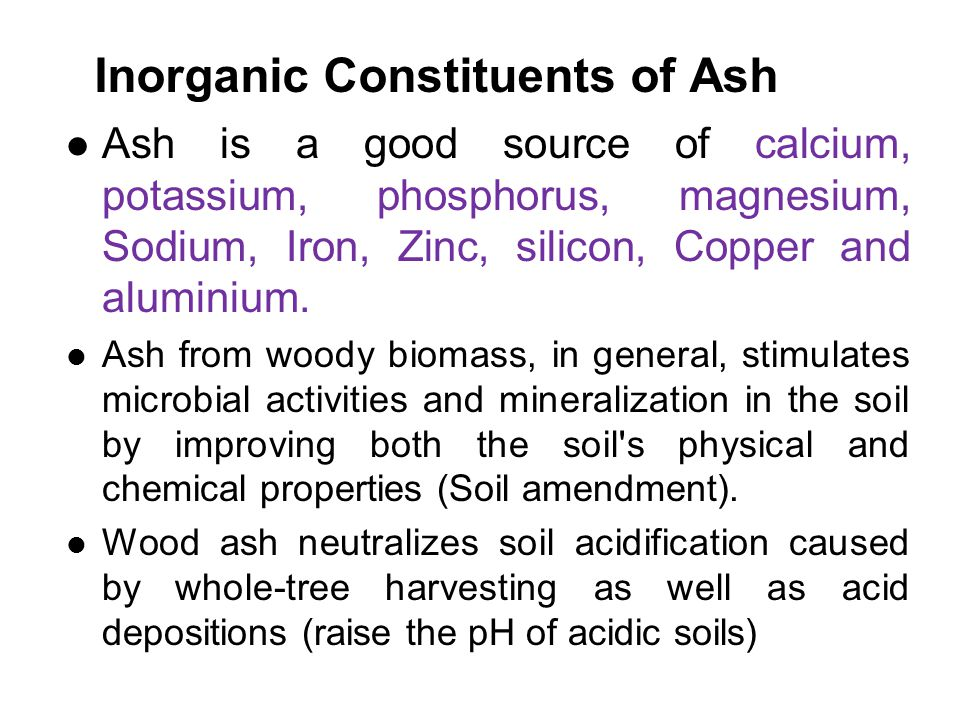 Inorganic Constituents of Ash