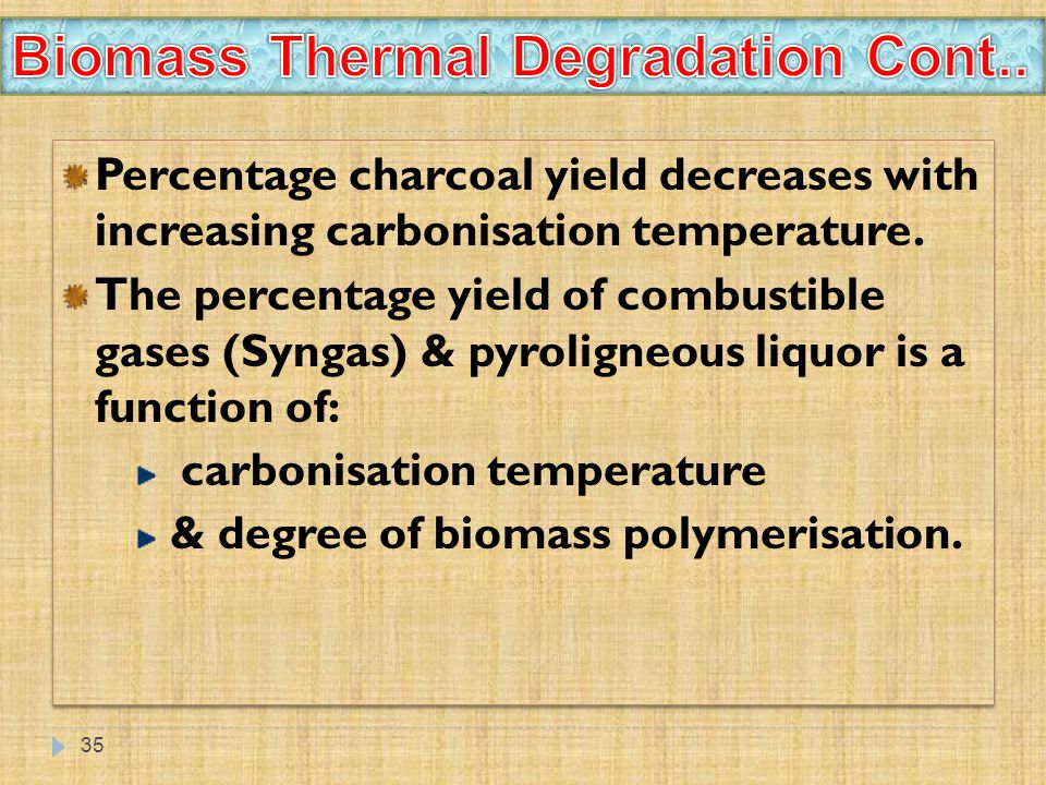 Biomass Thermal Degradation Cont..