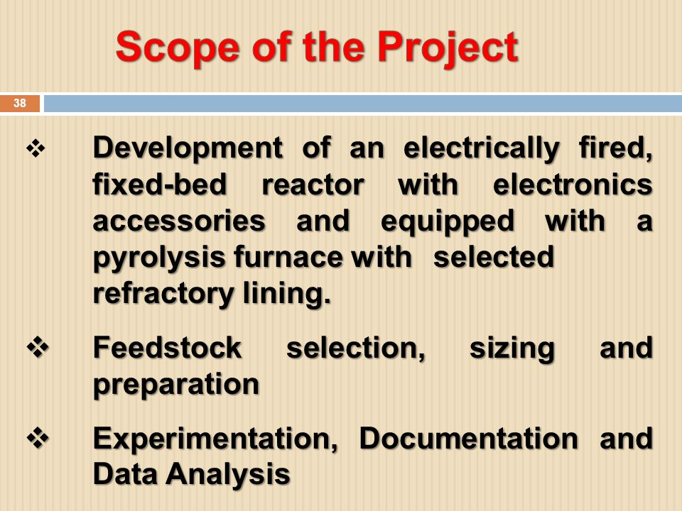 Scope of the Project Feedstock selection, sizing and preparation