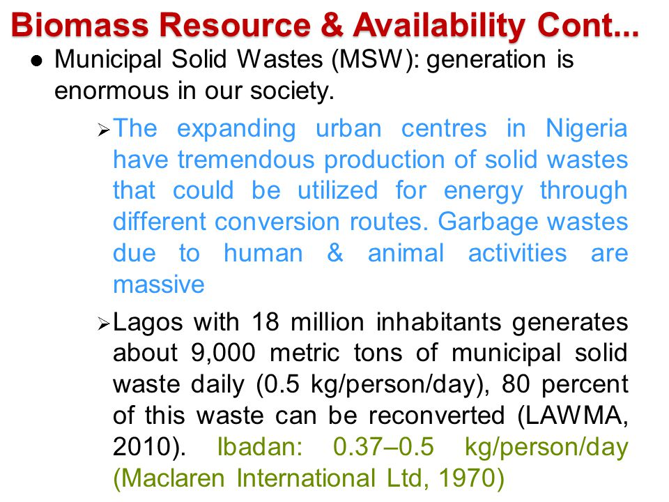 Biomass Resource & Availability Cont...