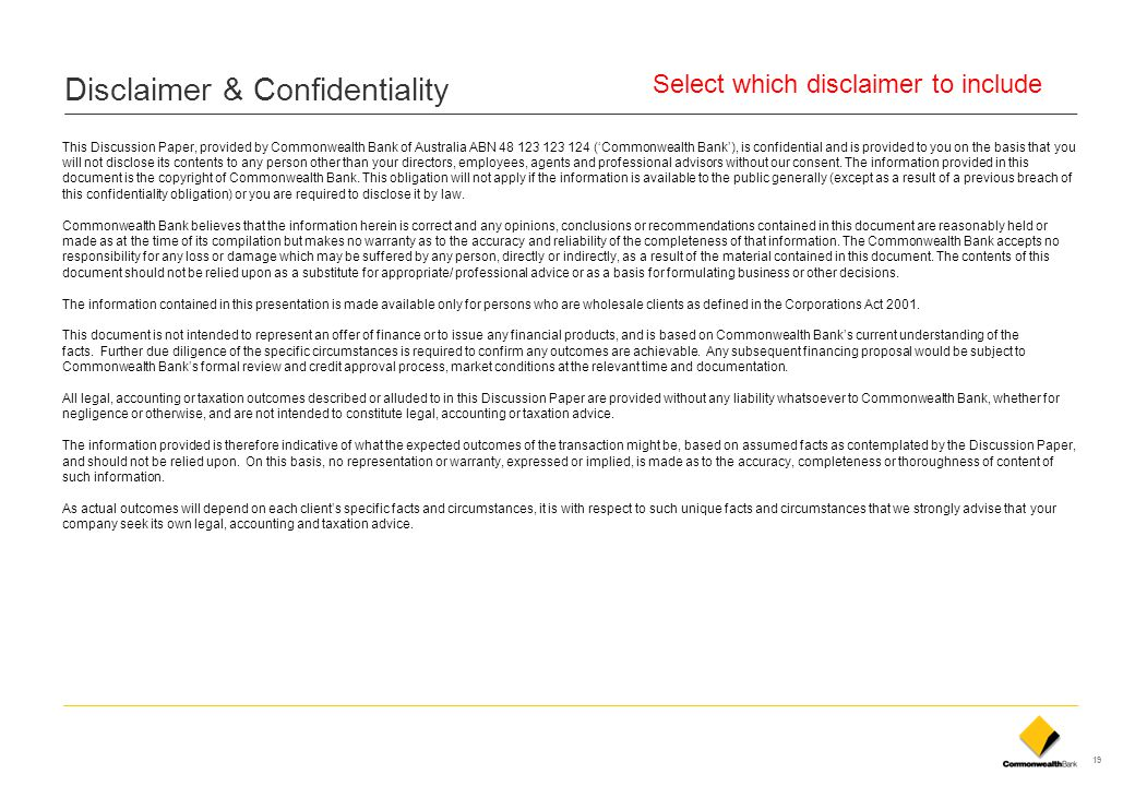 Disclaimer & Confidentiality