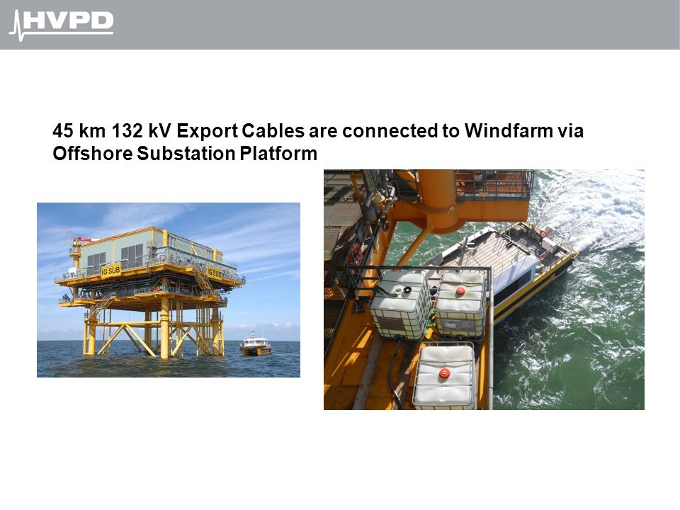 45 km 132 kV Export Cables are connected to Windfarm via Offshore Substation Platform