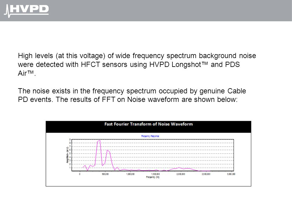 High levels (at this voltage) of wide frequency spectrum background noise were detected with HFCT sensors using HVPD Longshot™ and PDS Air™.