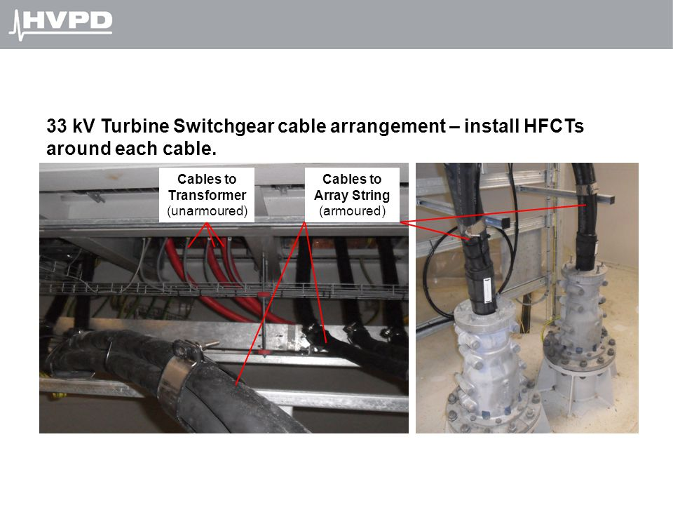 33 kV Turbine Switchgear cable arrangement – install HFCTs around each cable.