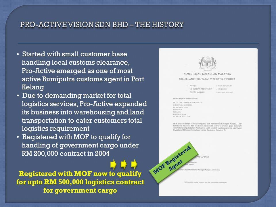 PRO-ACTIVE VISION SDN BHD – THE HISTORY