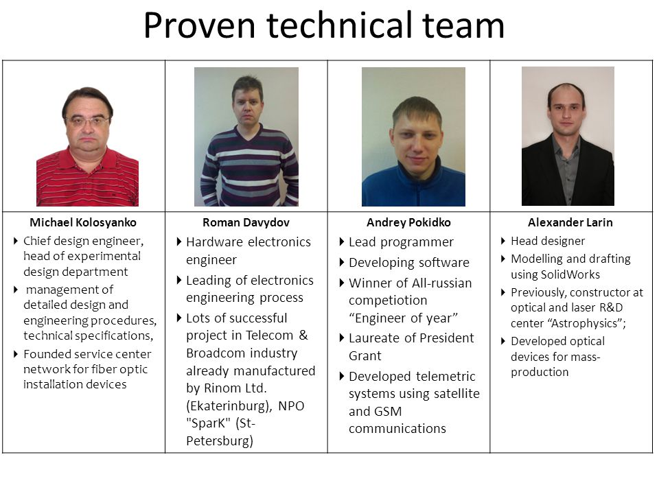 Proven technical team Hardware electronics engineer