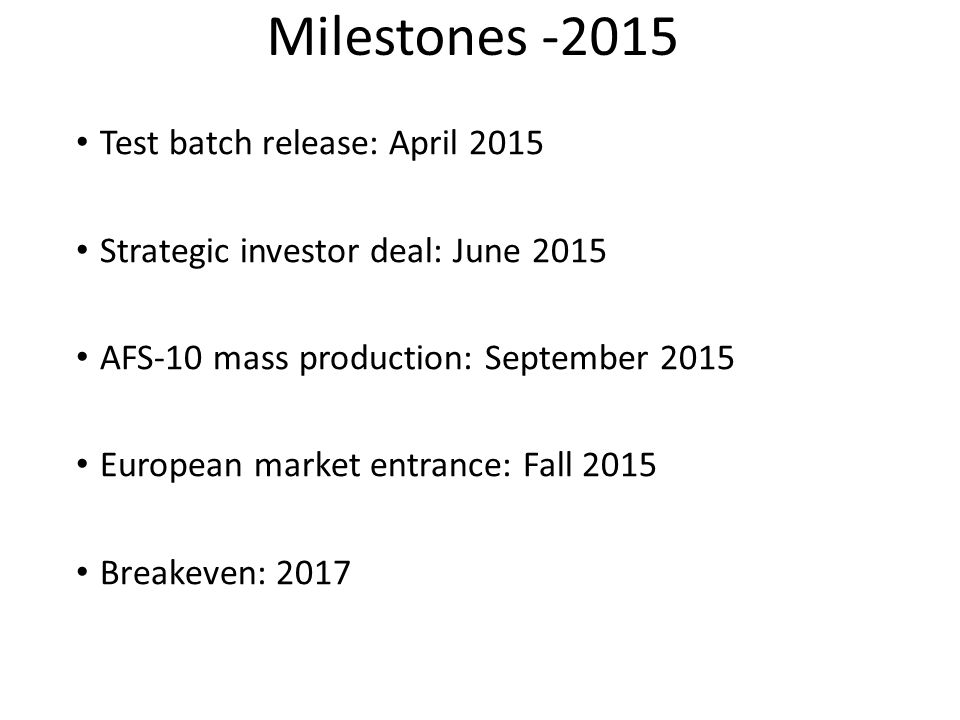 Milestones -2015 Test batch release: April 2015
