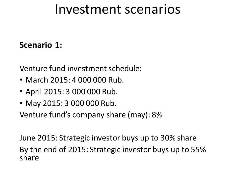 Investment scenarios Scenario 1: Venture fund investment schedule: