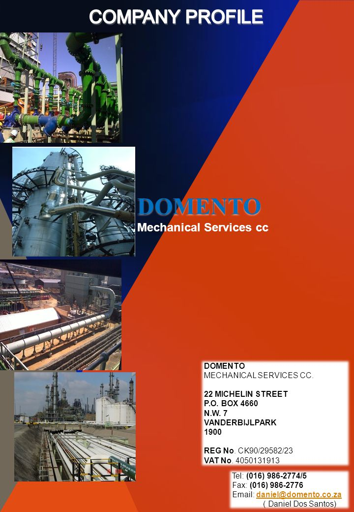DOMENTO COMPANY PROFILE Mechanical Services cc DOMENTO