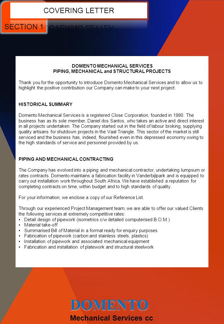 DOMENTO COVERING LETTER SECTION 1 Mechanical Services cc