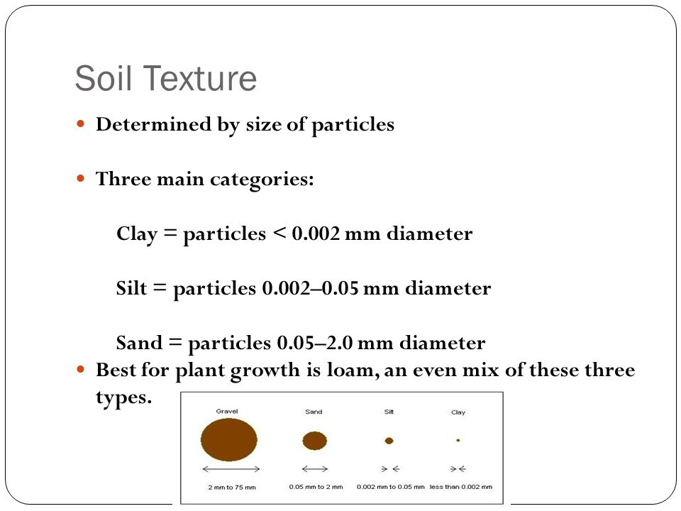 Soil Texture Determined by size of particles Three main categories: