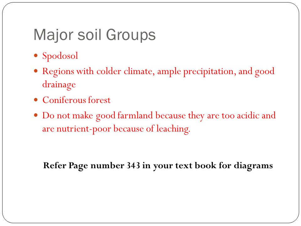 Major soil Groups Spodosol