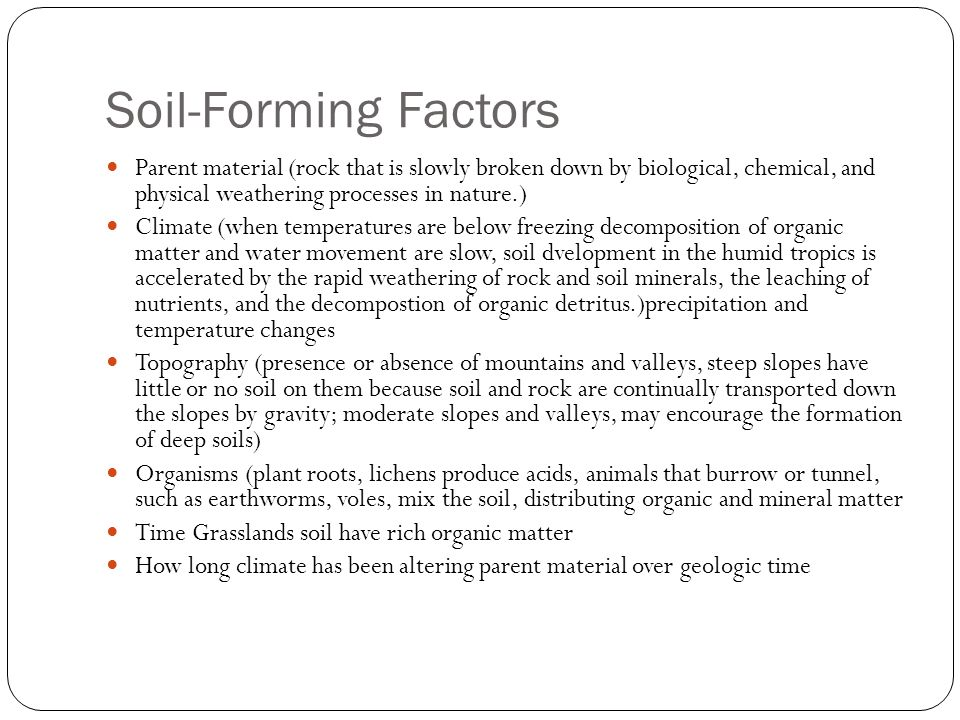 Soil resources chapter ppt video online download for Soil forming factors