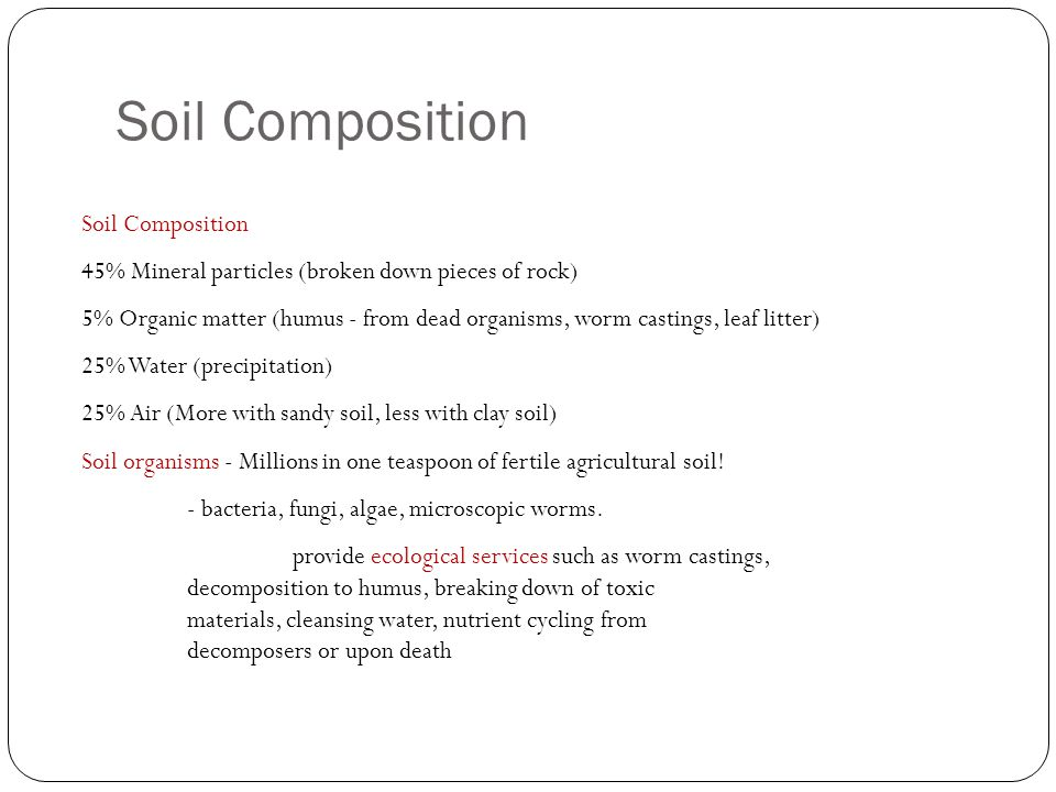 Soil resources chapter ppt video online download for Soil composition