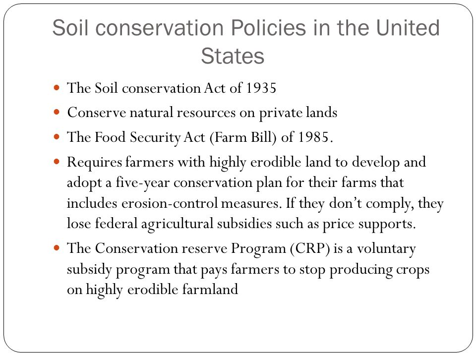 Soil conservation Policies in the United States
