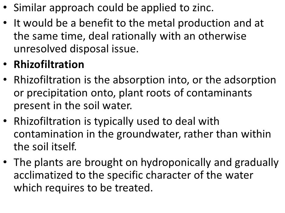 Similar approach could be applied to zinc.