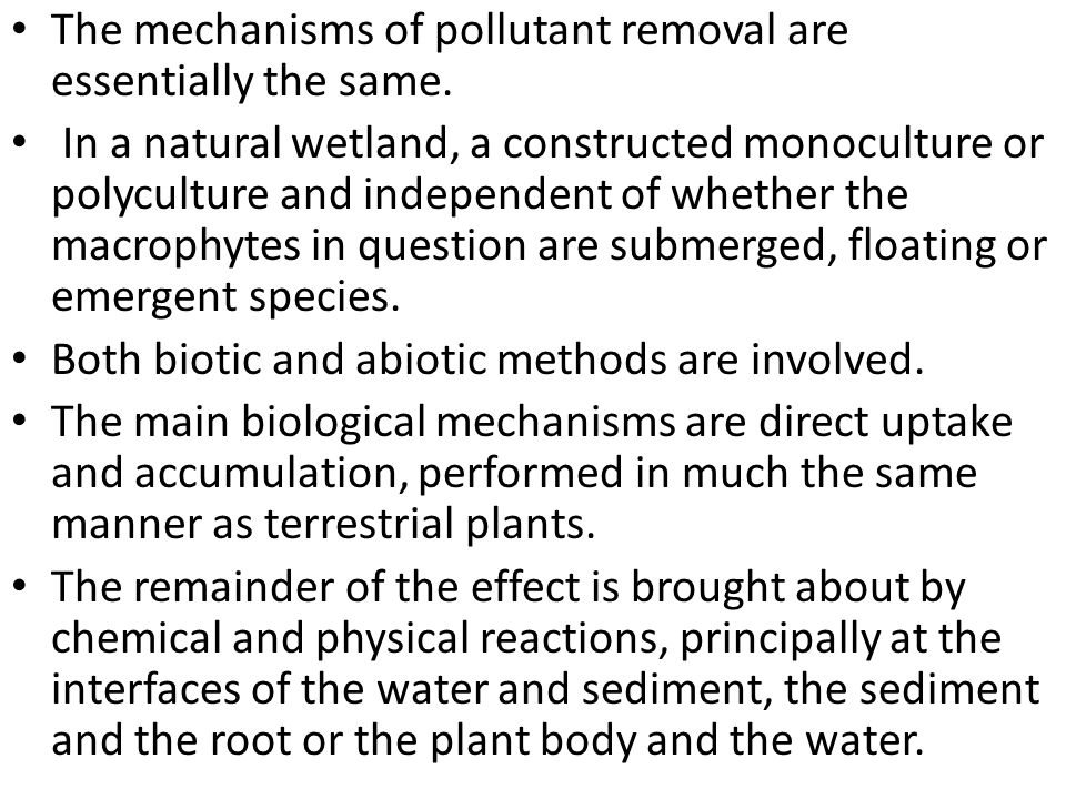 The mechanisms of pollutant removal are essentially the same.