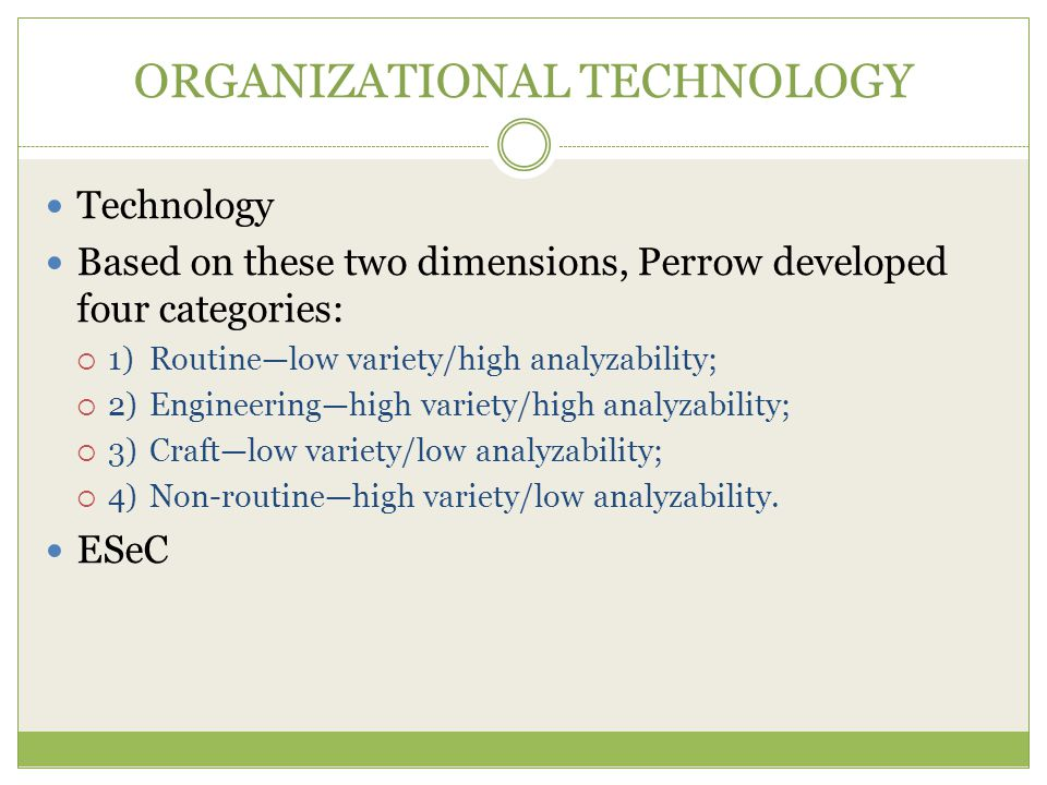 ORGANIZATIONAL TECHNOLOGY