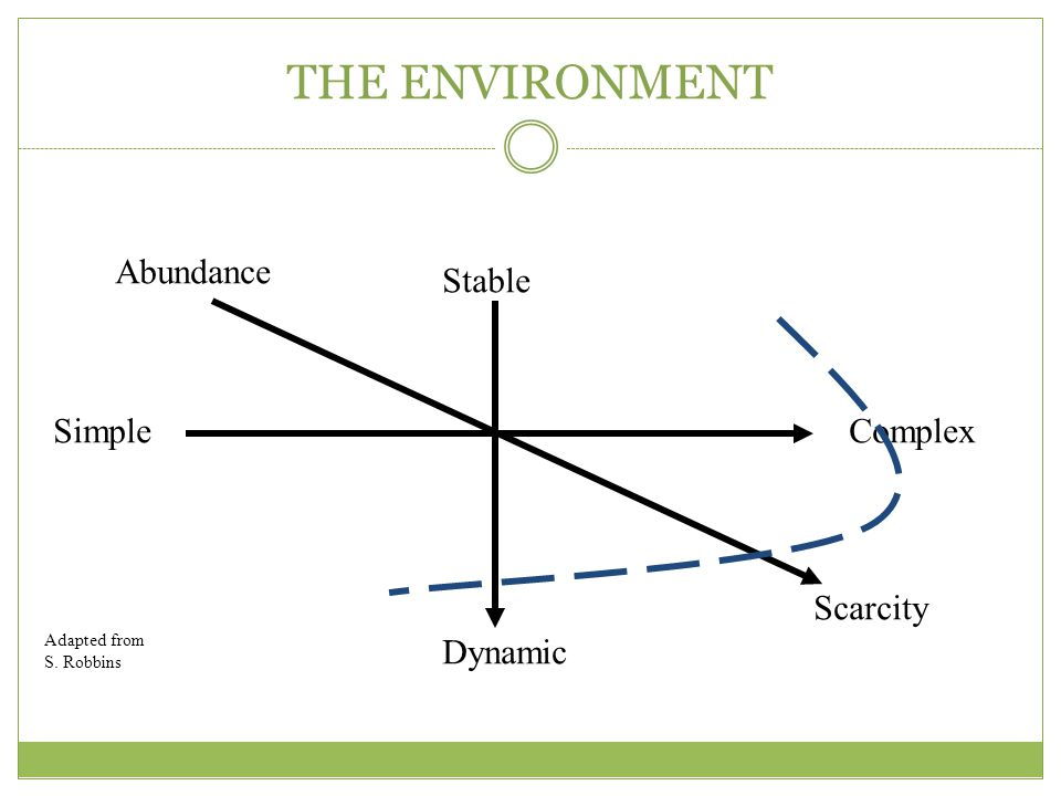 THE ENVIRONMENT Abundance Stable Simple Complex Scarcity Dynamic