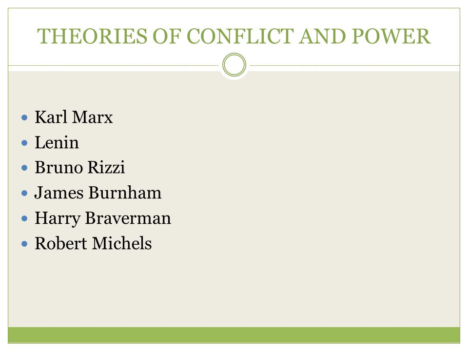 THEORIES OF CONFLICT AND POWER