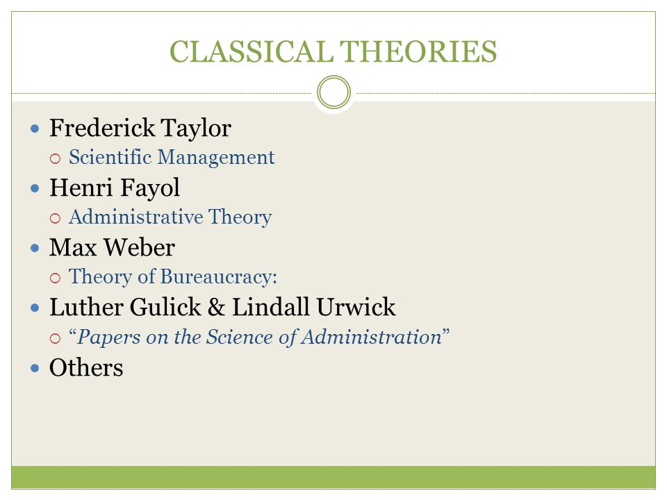 CLASSICAL THEORIES Frederick Taylor Henri Fayol Max Weber